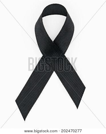 Black awareness ribbon isolated on white background.