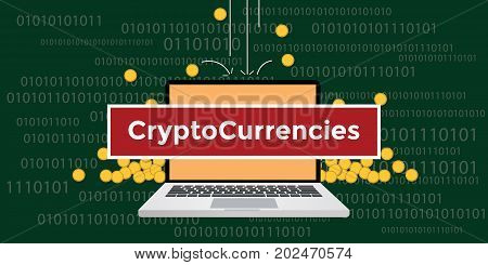 cryptocurrency concept with laptop and text with gold coin money fall and binary code as background vector