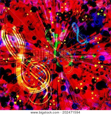 Abstract colorful radial background with treble clef ,rainbow splashes,centrifugal rays