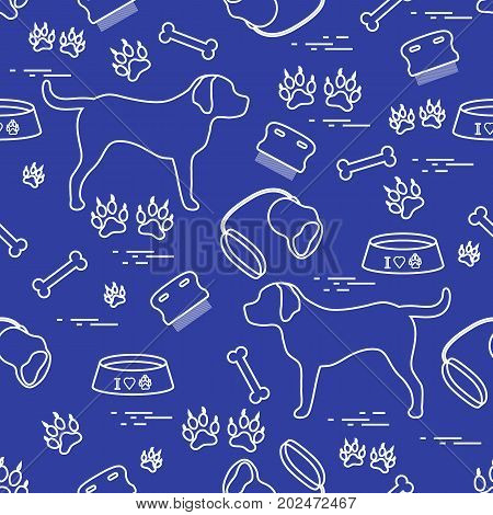 Cute Seamless Pattern With Dog Silhouette, Bowl, Traces, Bone, Brush, Collar, Leash.