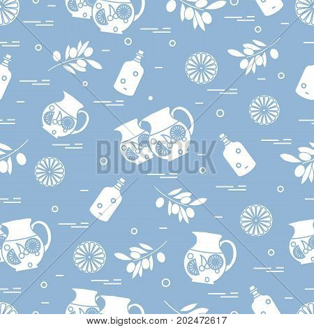 Cute Seamless Pattern With Pitcher Of Sangria, Orange, Bottle Of Olive Oil And Branch With Olives. T