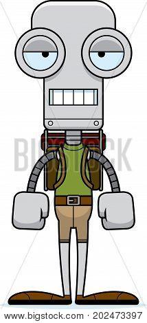 Cartoon Bored Hiker Robot