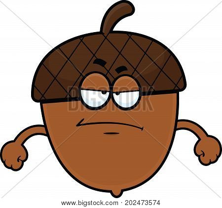 Cartoon illustration of an acorn with a grumpy expression.