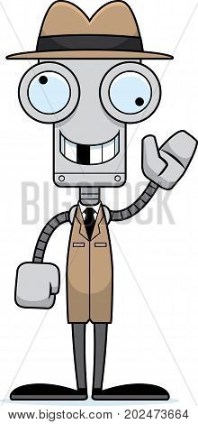 Cartoon Silly Detective Robot