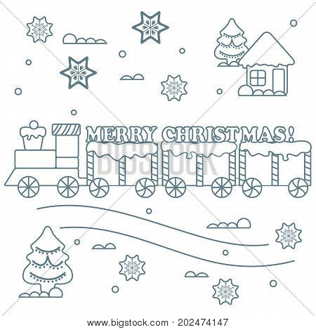 New Year And Christmas Symbols: Train, Wagons, Gingerbread, сhristmas Tree, Snowflakes, House.