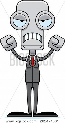 Cartoon Angry Businessperson Robot