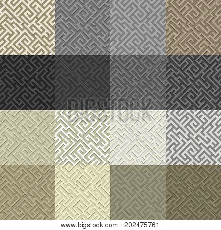 Geometrical seamless pattern maze with shadow. Abstract background.