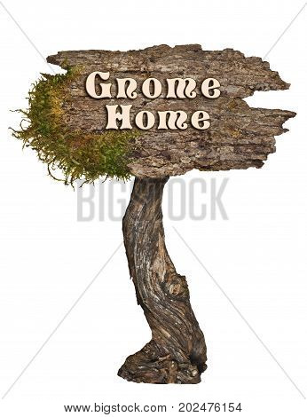 Natural Wood sign with Letters Gnome Home on isolated background