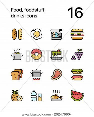 Colored Food, foodstuff, drinks icons for web and mobile design pack 1
