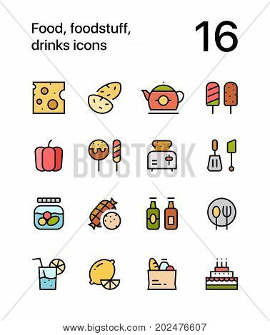 Colored Food, foodstuff, drinks icons for web and mobile design pack 2