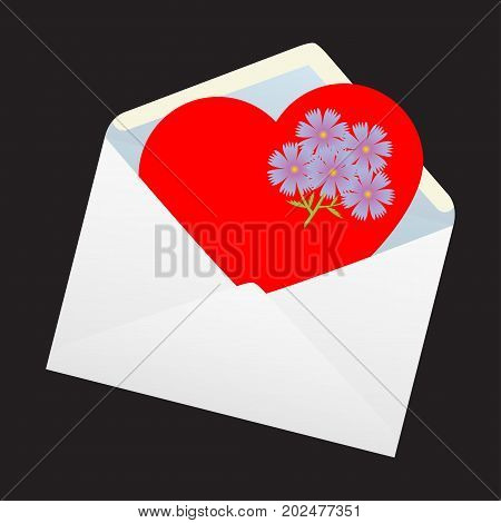 The heart in the envelope. Vector illustration.