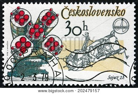 CZECHOSLOVAKIA - CIRCA 1979: a stamp printed in Czechoslovakia shows Soyuz 28 Rockets and Capsule 1st Anniversary of Joint Czechoslovak-Soviet Space Flight circa 1979
