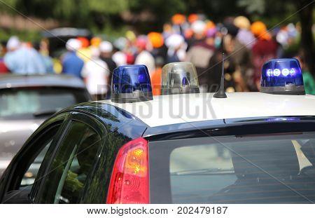 Police Patrol Cars Flashing Sirens