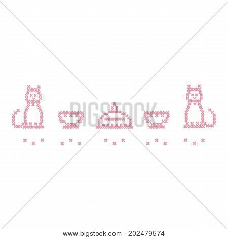 Cute vector illustration cross embroidery of dish with lid, two cups and two cats. Design for banner, poster or print.
