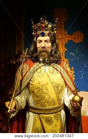 May 8. 2017 Museum of wax statues Grevin in the capital of the Czech Republic in Prague: Karel IV. He was the eleventh Czech king reigning as Karol I. from August 1346 until his death in November 1378
