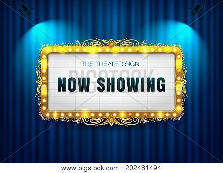 theater sign gold luis on curtain vector illustration