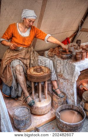 3.9.2016 Coronation festivities of the Czech Republic in Prague Commemoration of the Coronation of Charles IV. with a presentation of the contemporary crafts on the picture to see the potter at work