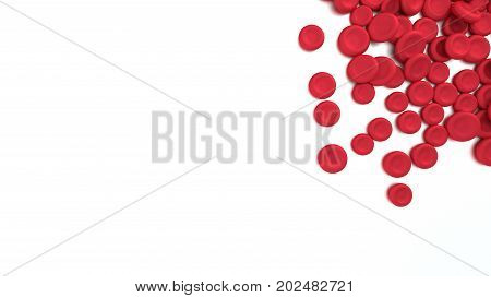 Red Blood Cells Isolated On White Background.