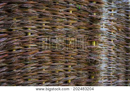wicker willow flat outdoor surface background with selective focus