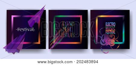 Abstract dynamic shapes posters set. Music festival posters concept design, vector futuristic style template.