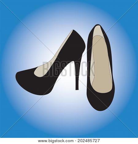Female shoes in black with high heels isolated gradient background.