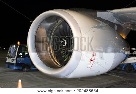 Borispol, Ukraine - August 28, 2017: Engine of the modern passenger jet aircraft. Editorial use only
