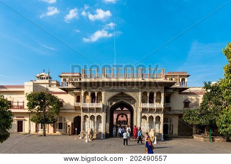 JAIPUR RAJASTHAN INDIA - MARCH 10 2016: Horizontal picture of the main entrance of City Palace in Jaipur known as pink city of Rajasthan in India.