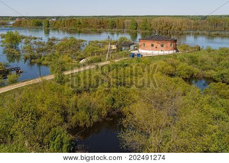 Tyumen Russia - May 16 2016: Metelevsky water intake station on Tura river. Water undergoes cleaning and comes to a city water supply system