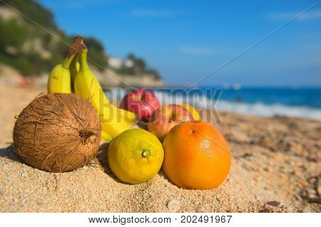 Assortment Fresh fruit at the beach