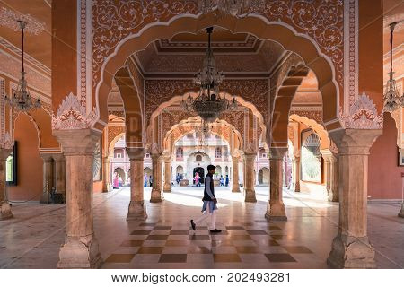 JAIPUR RAJASTHAN INDIA - MARCH 10 2016: Horizontal picture of indian style architecture inside of City Palace in Jaipur known as pink city of Rajasthan in India.