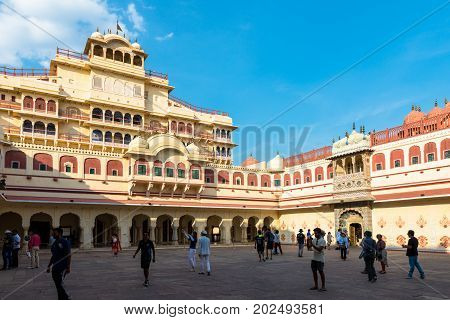 JAIPUR RAJASTHAN INDIA - MARCH 10 2016: Horizontal picture of Chandra Mahal inside of City Palace in Jaipur known as pink city of Rajasthan in India.