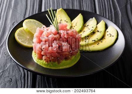 Beautiful Food: Fresh Tuna Tartar With Lime, Avocado And Sesame Close-up. Horizontal