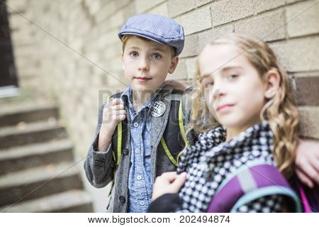 Two Pre teen child at school outside