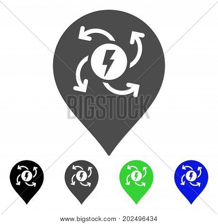 Electric Motor Marker vector pictogram. Style is a flat graphic symbol in black, gray, blue, green color versions. Designed for web and mobile apps.