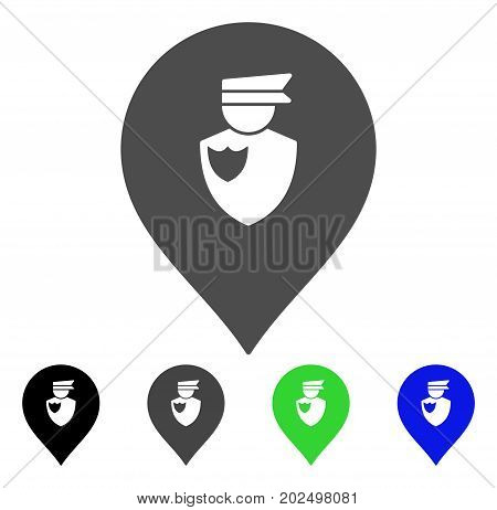 Policeman Marker vector icon. Style is a flat graphic symbol in black, gray, blue, green color variants. Designed for web and mobile apps.
