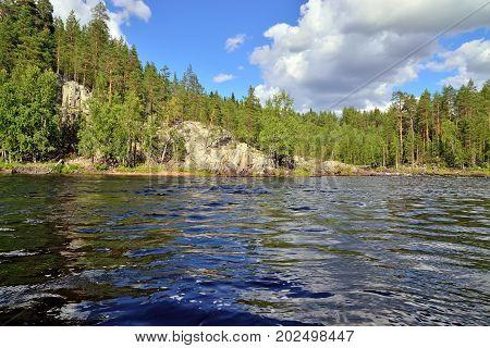 River Chirko-Kem in summer Sunny day. Karelia, Russia