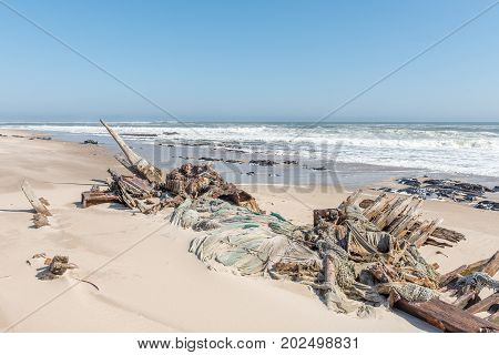 The shipwreck of the Benguela Eagle which ran aground in 1973 on the C34-road between Henties Bay and Torra Bay in the Skeleton Coast area of Namibia