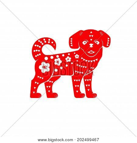 Red chinese dog on the white background. Vector illustration. Red chinese dog on the white background. For Chinese New Year greeting card, flyer, poster, banner or website template.