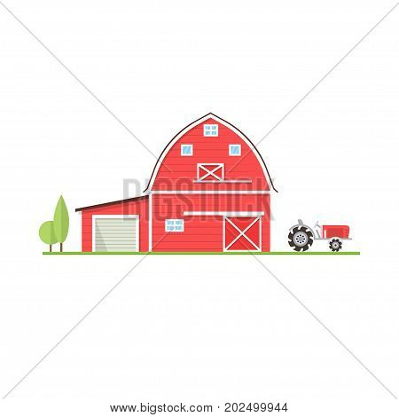 American farm icon in flat style. For web design and application interface, also useful for infographics. Vector illustration. Farm house with old tractor isolated on white background.