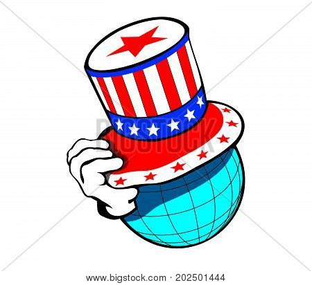 The globe as a head in an American top hat