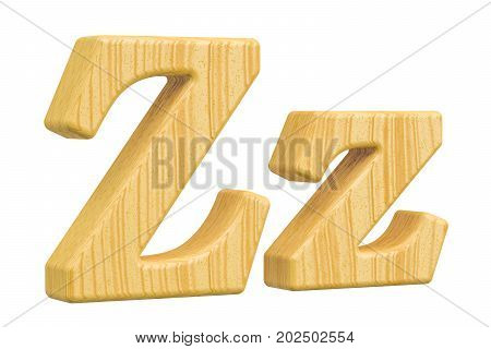 English wooden letter Z 3D rendering isolated on white background