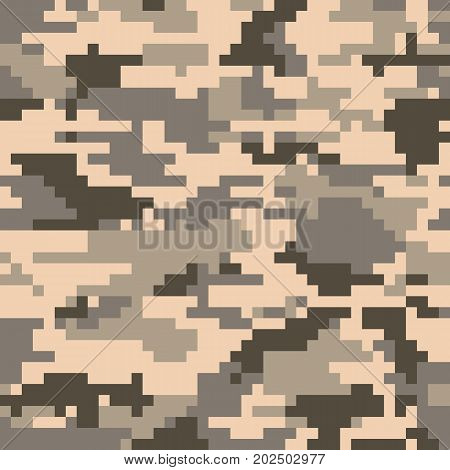Digital pixel camouflage seamless pattern. Vector Texture in desert colour