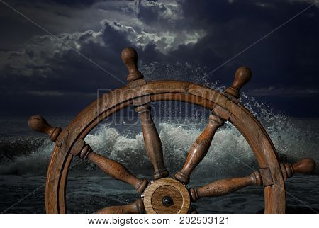 Steering wheel and storm waves 3d illustration