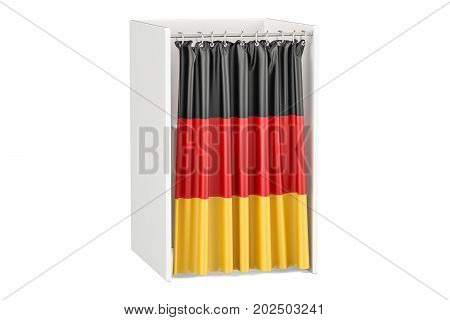 Vote in Germany concept voting booth with German flag 3D rendering isolated on white background
