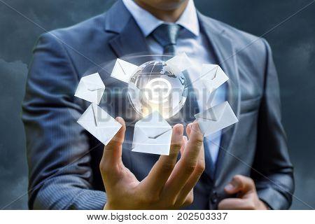 Sending Letters On The Internet Businessman.