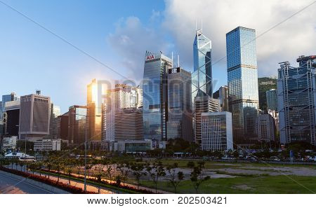 Cityscape Of Hong Kong City, Skyscrapers