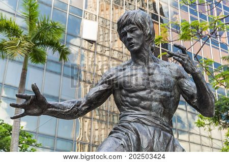 Closeup Photo Of Bruce Lee Statue