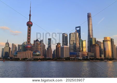 Shanghai China - December 02, 2016:  Pudong District Skyscrapers In Shanghai China. Pudong Is A Dist