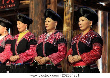 Longji, China - November 25, 2016: Unidentified Women In Longji, China. Women Of Red Yao People Livi
