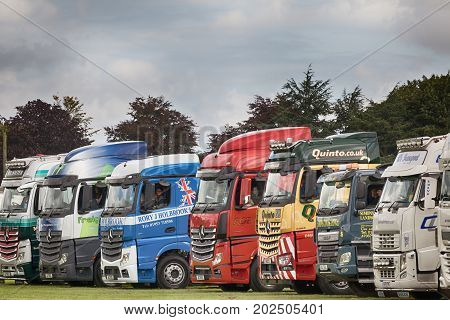 NORFOLK UK - AUGUST 19th 2017: Truckfest Norwich is a transport festival. Truck lineup at the showground